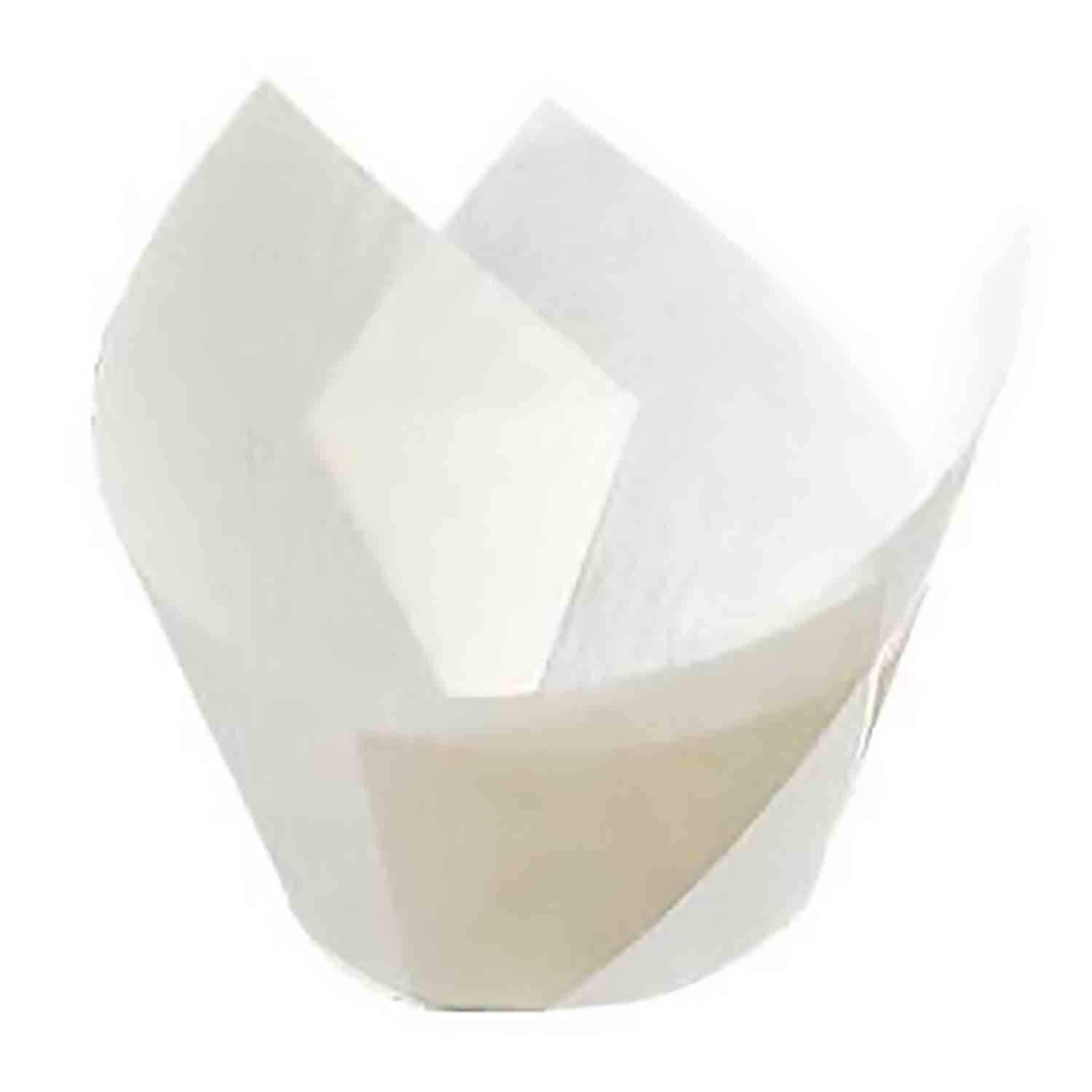 White Medium Tulip Baking Cups