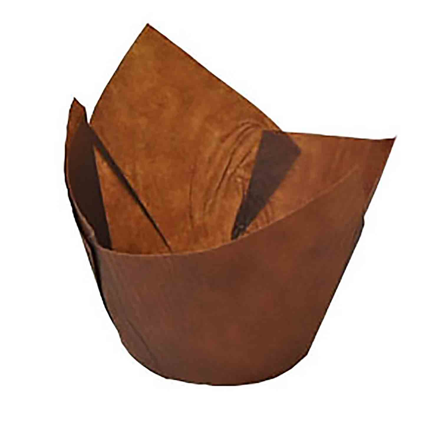 Brown Medium Tulip Baking Cups