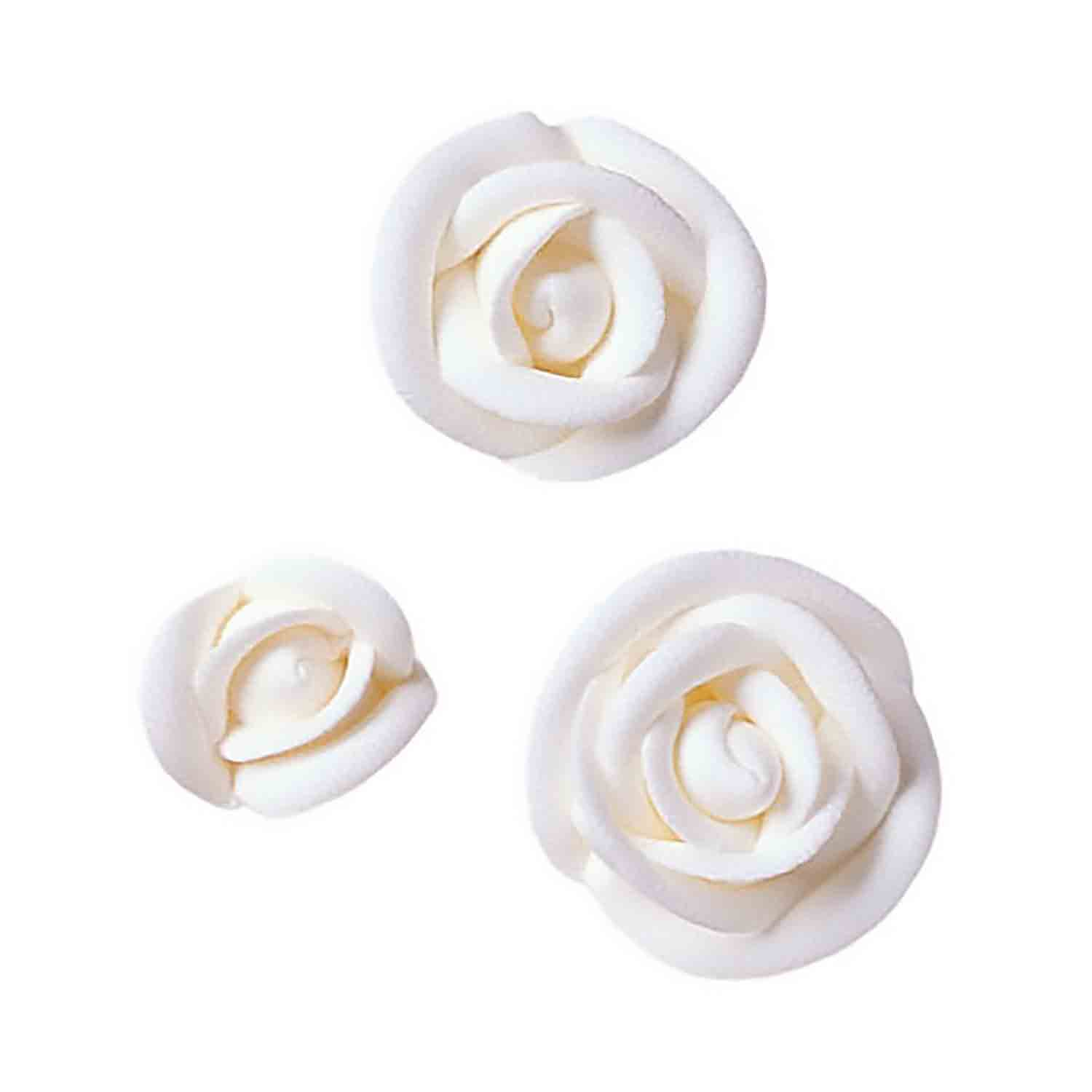White Royal Icing Roses-Assorted Sizes