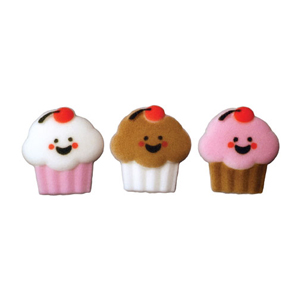 Dec-Ons® Molded Sugar - Happy Face Cupcake