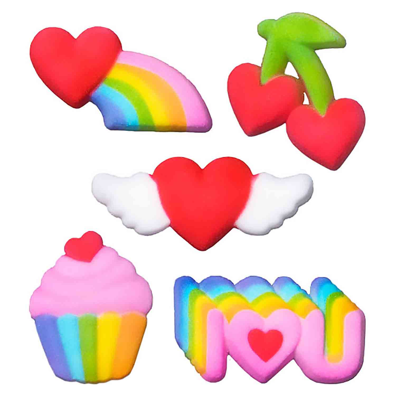 Dec-Ons® Molded Sugar - Rainbow Valentine Assortment