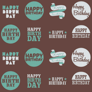 Chocolate Transfer Sheet - Teal Happy Birthday Rounds