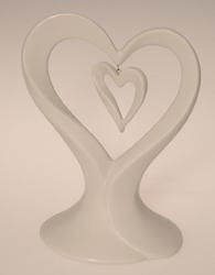 Wedding Cake Top-Porcelain Double Heart