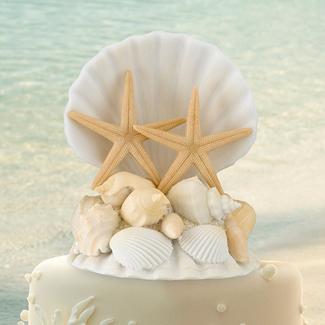 Seashell and Starfish Wedding Cake Topper