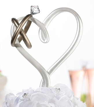 Heart with Rings Wedding Cake Topper