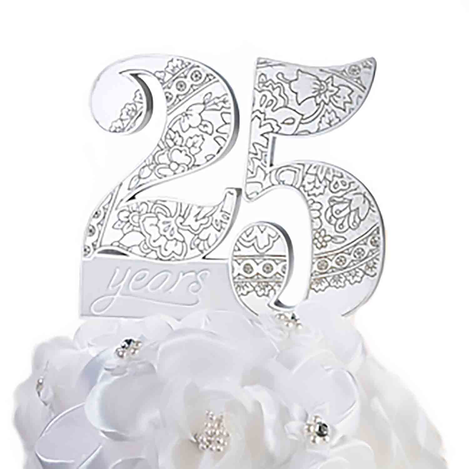 25th Anniversary Cake Topper Pick