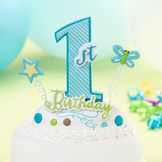 1st Birthday Blue Cake Topper