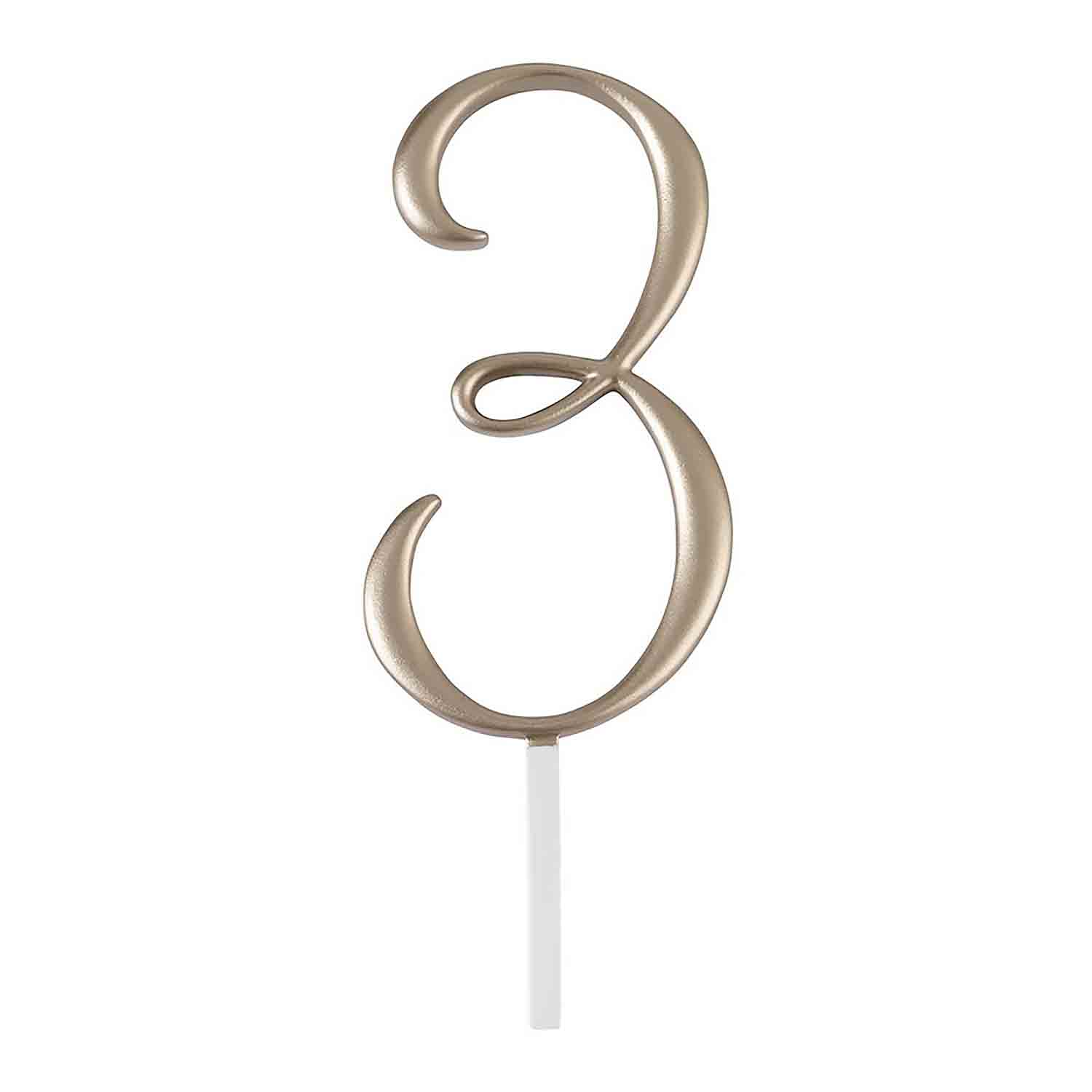 "Gold Monogram Number ""3"" Cake Topper"