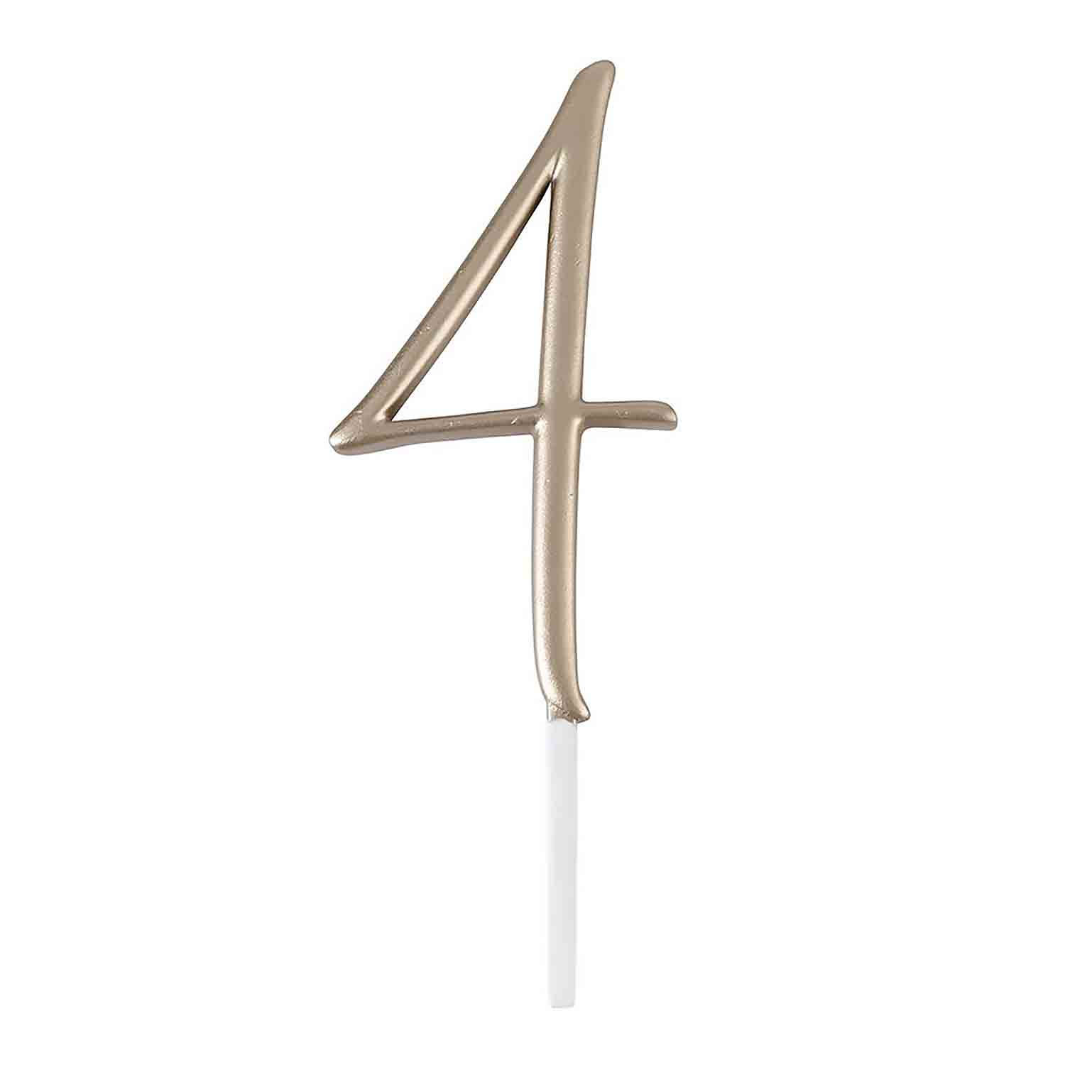 "Gold Monogram Number ""4"" Cake Topper"