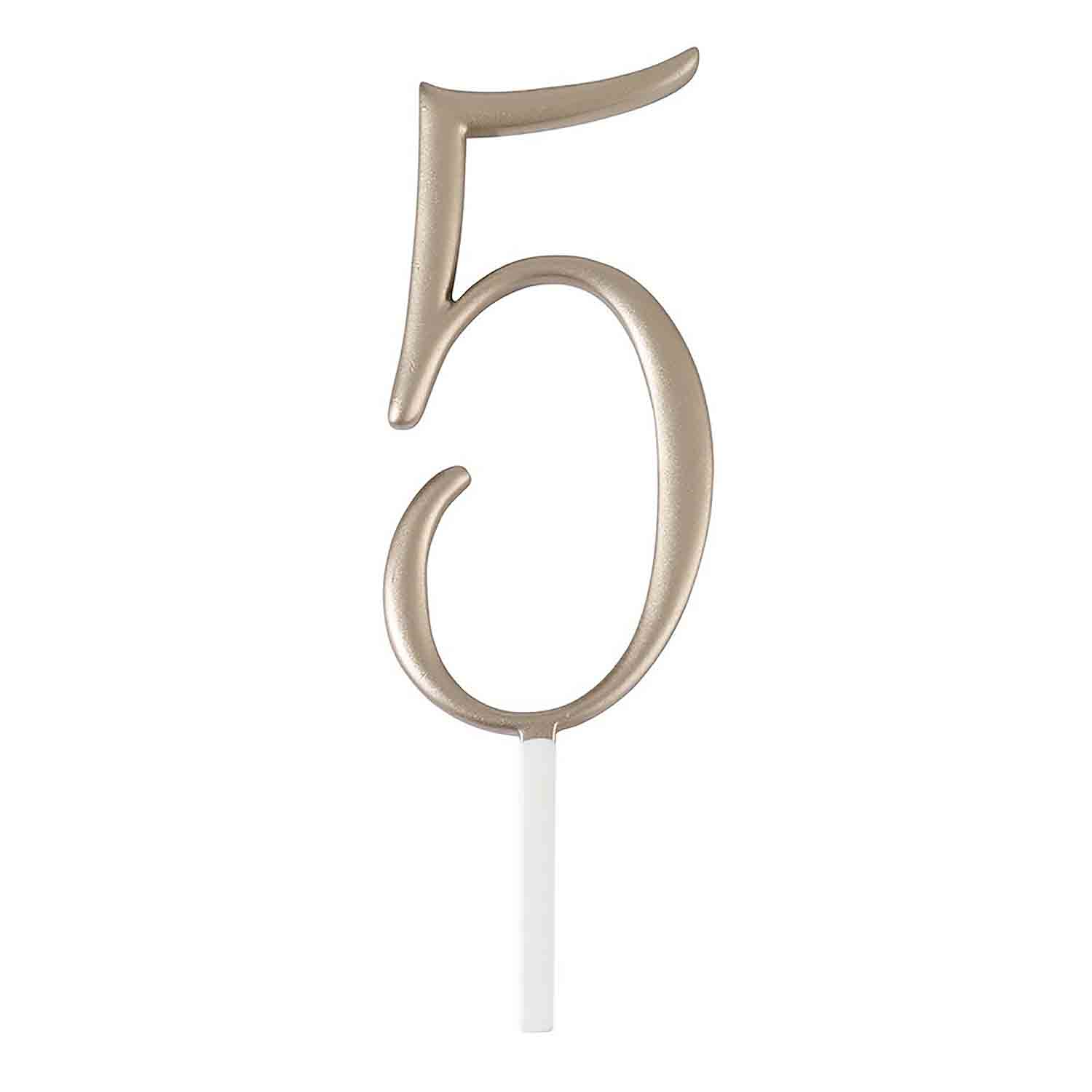 "Gold Monogram Number ""5"" Cake Topper"