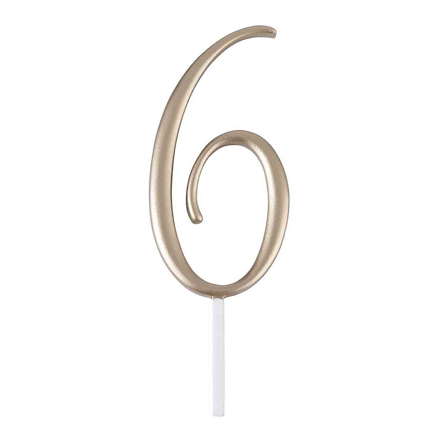 "Gold Monogram Number ""6"" Cake Topper"