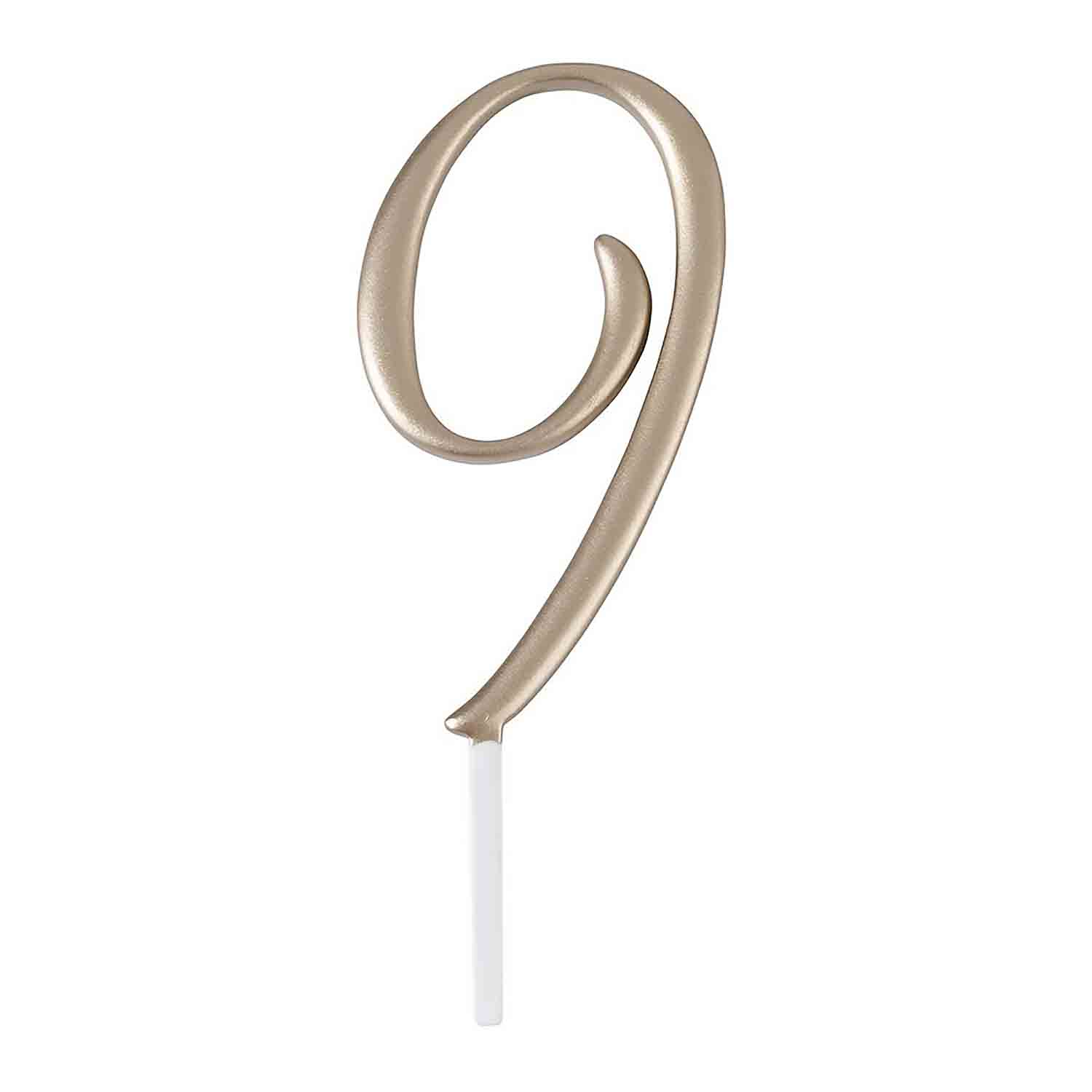 "Gold Monogram Number ""9"" Cake Topper"
