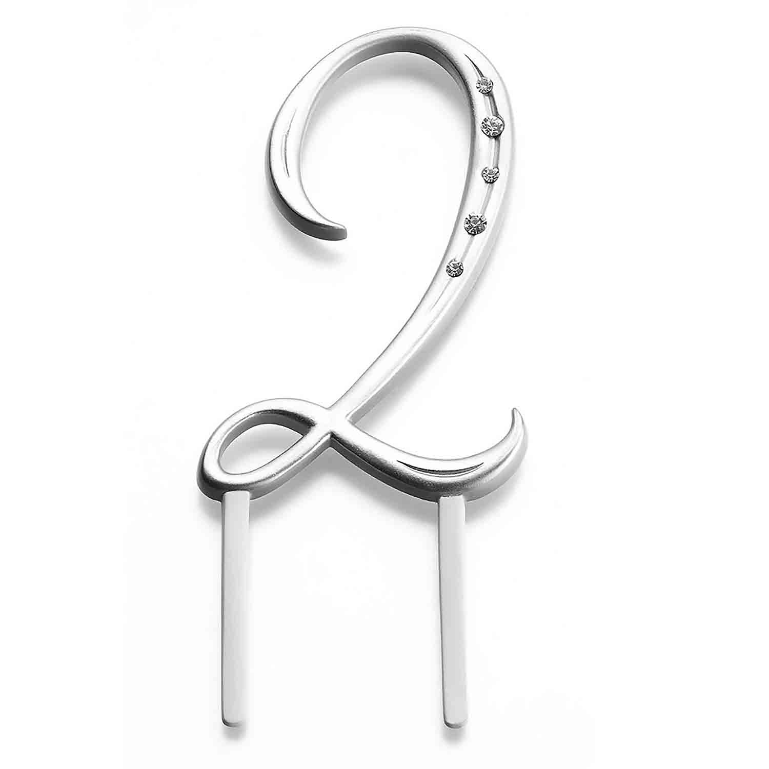 "Silver Monogram Number ""2"" Cake Topper"