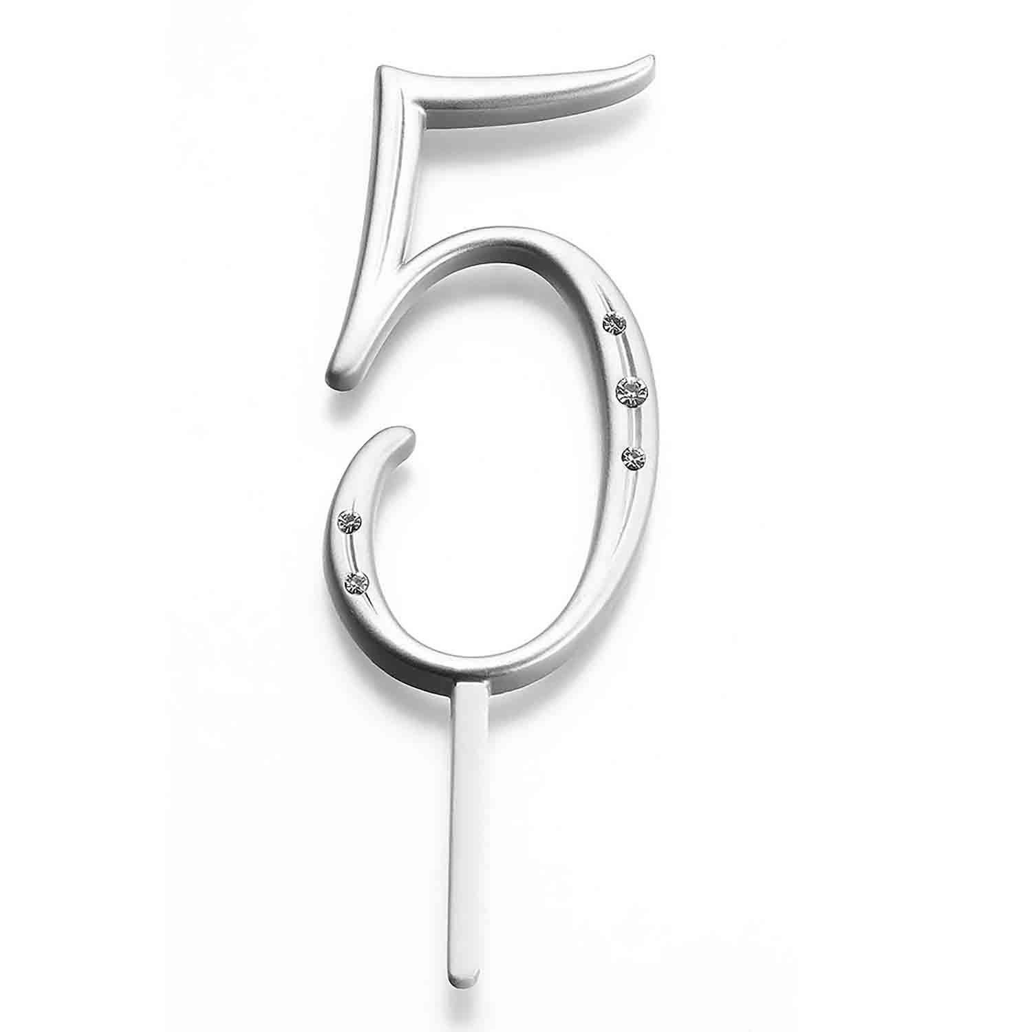 "Silver Monogram Number ""5"" Cake Topper"