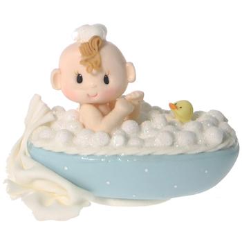 Baby in Tub- Blue Caucasian Cake Topper