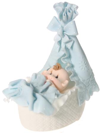 Baby Bassinet- Blue Cake Topper