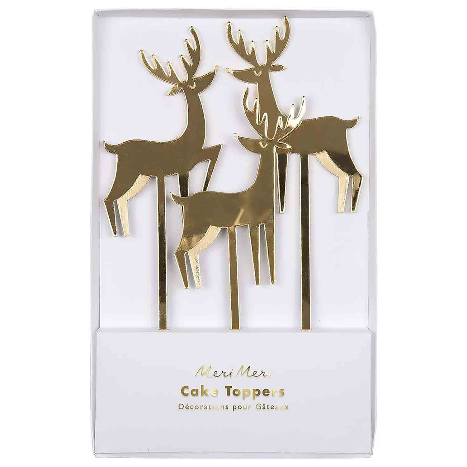 Gold Reindeer Cake Topper Set