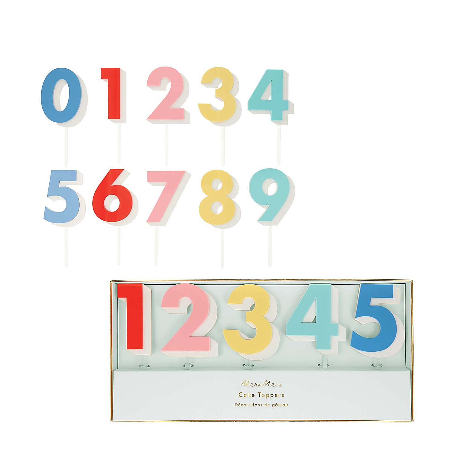 Rainbow Number Acrylic Cake Toppers