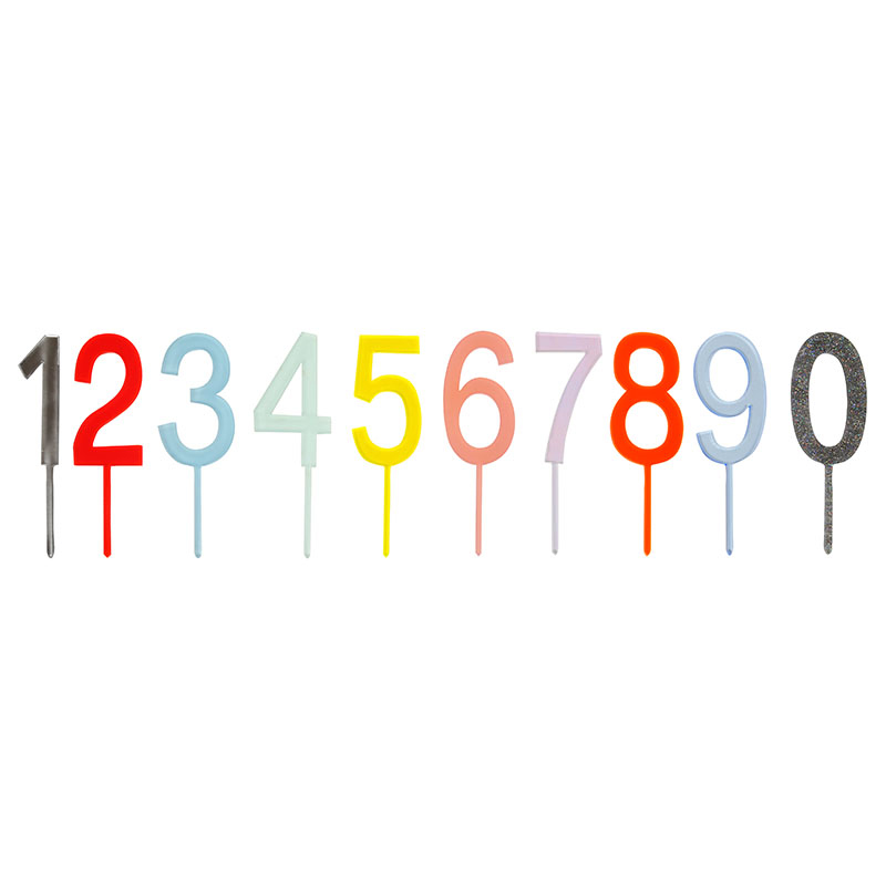 Jazzy Numbers Cake Pick Set