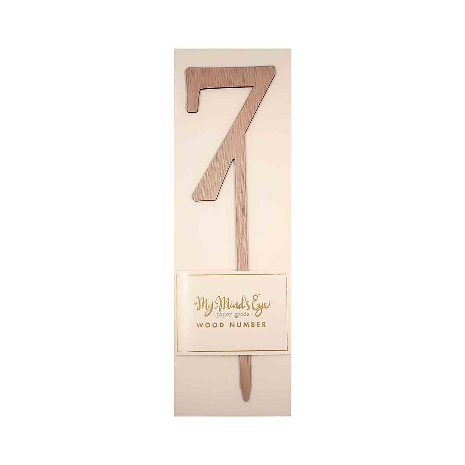 Number 7 Wood Cake Topper