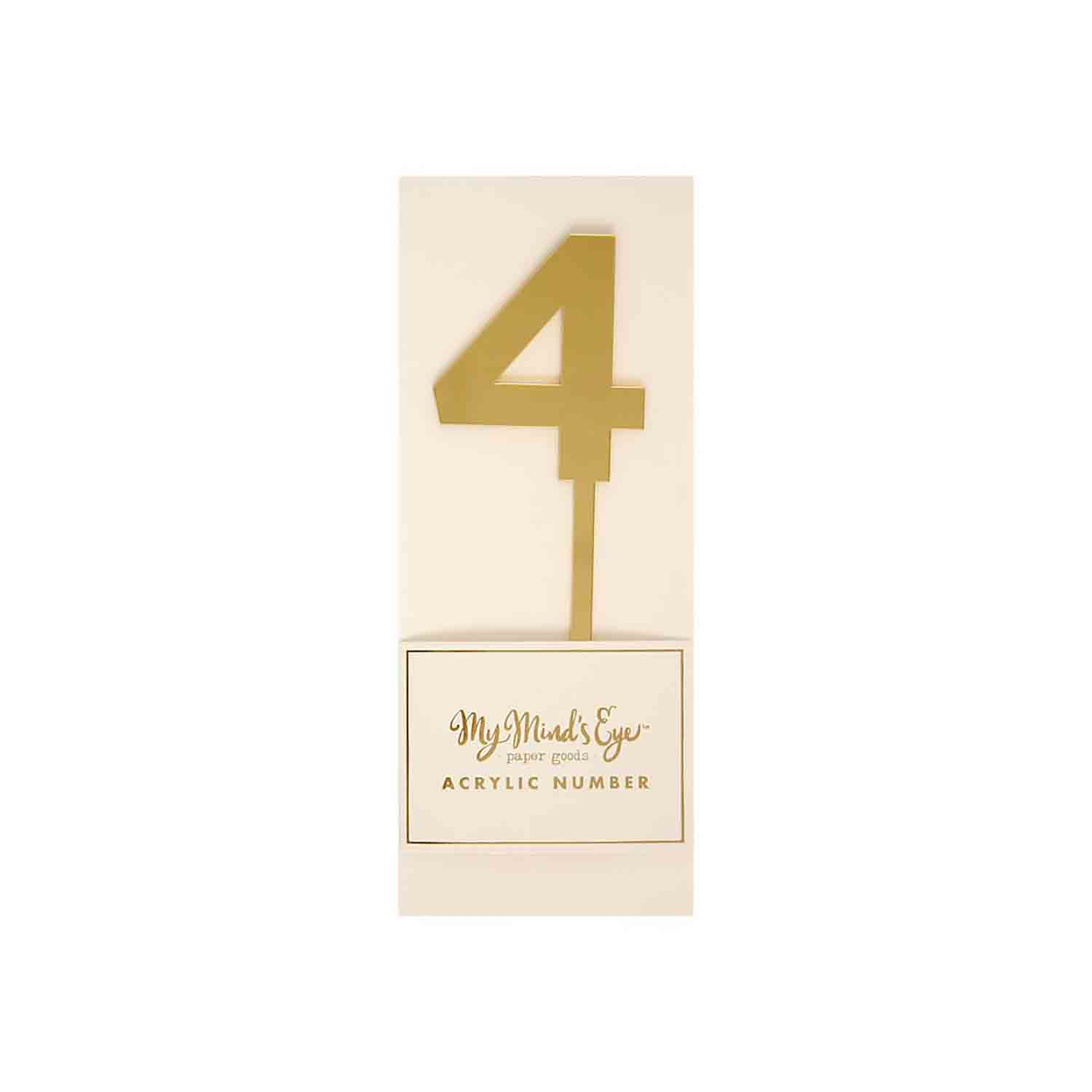 Number 4 Gold Cake Topper