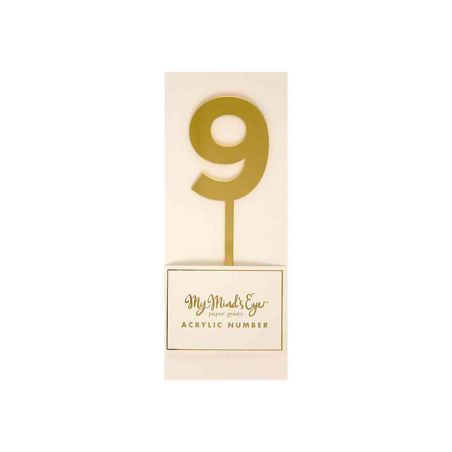 Number 9 Gold Cake Topper