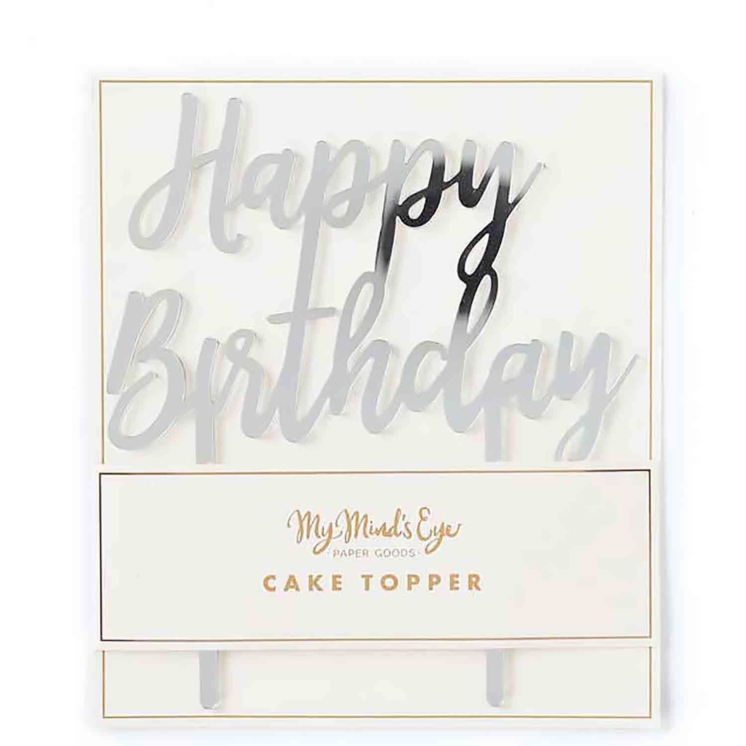 Silver Happy Birthday Cake Topper