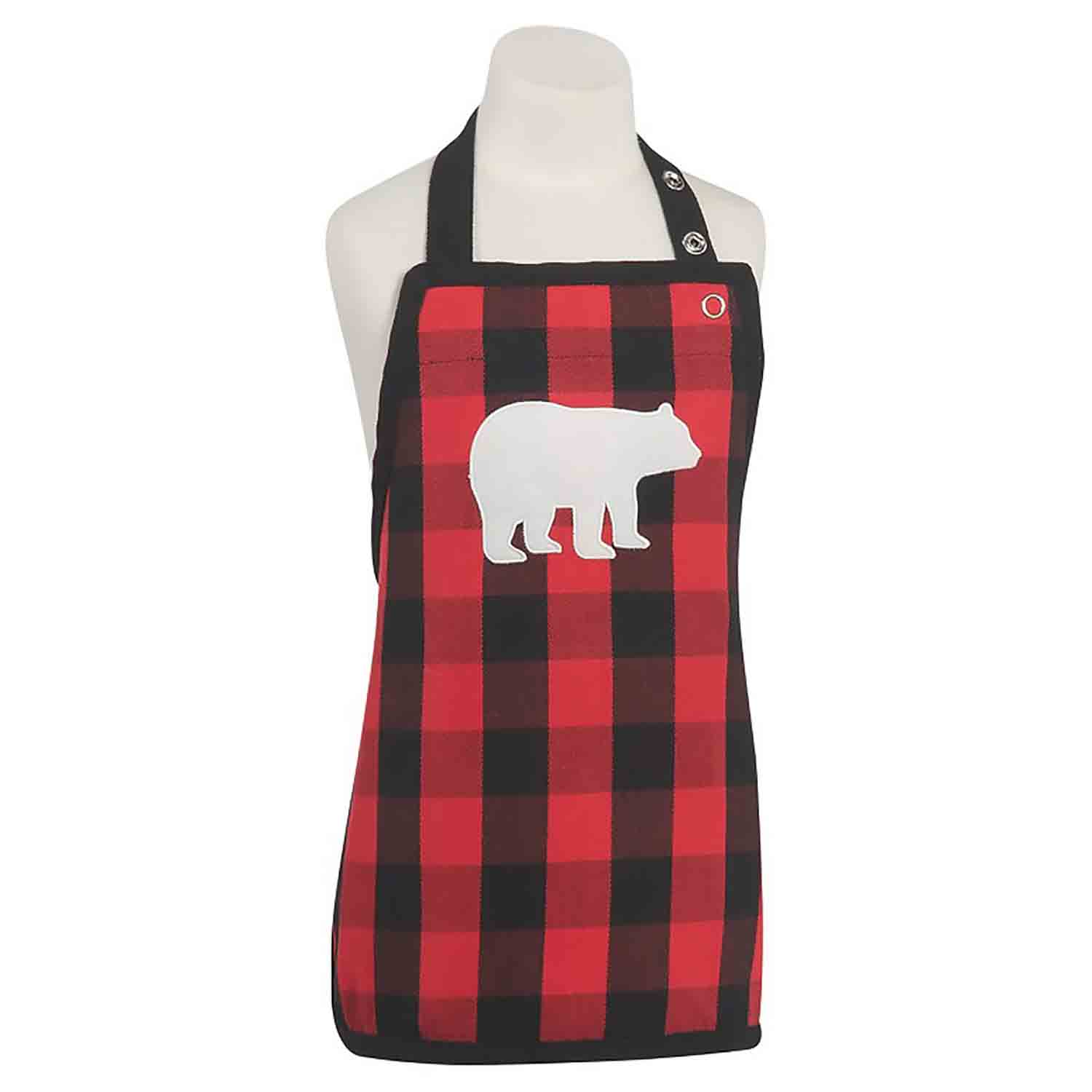 Kids' Apron - Buffalo Check Bear