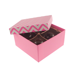 4 Pc. Pink Chevron Candy Box