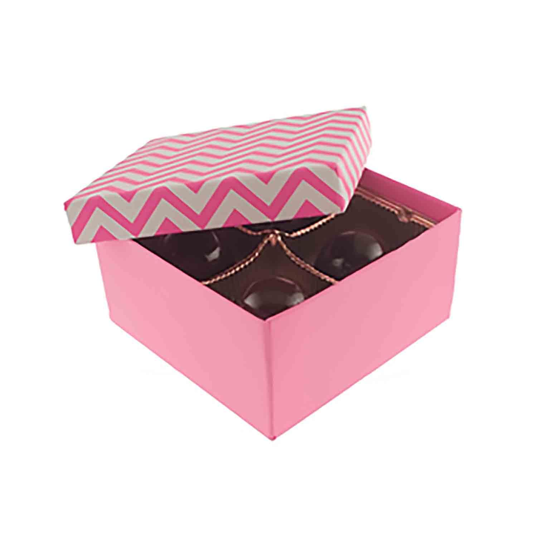 4 Pc. Pink Chevron Candy Box