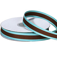 "5/8""Aqua and Chocolate Stripe Grosgrain Ribbon"