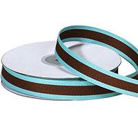 "5/8""Aqua and Chocolate Stripe Grosgrain Ribbon"
