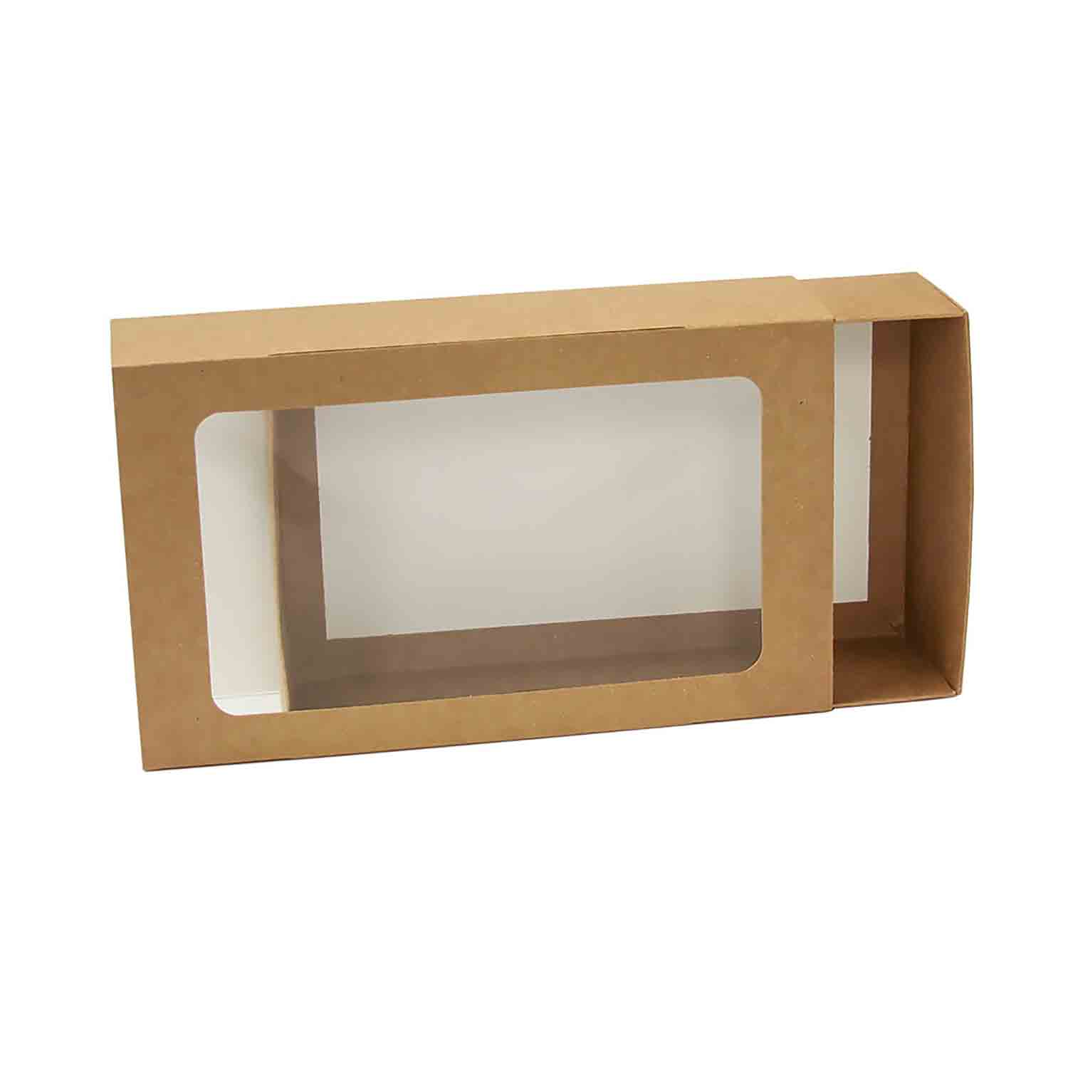 Kraft Double Macaron Sliding Box with Window