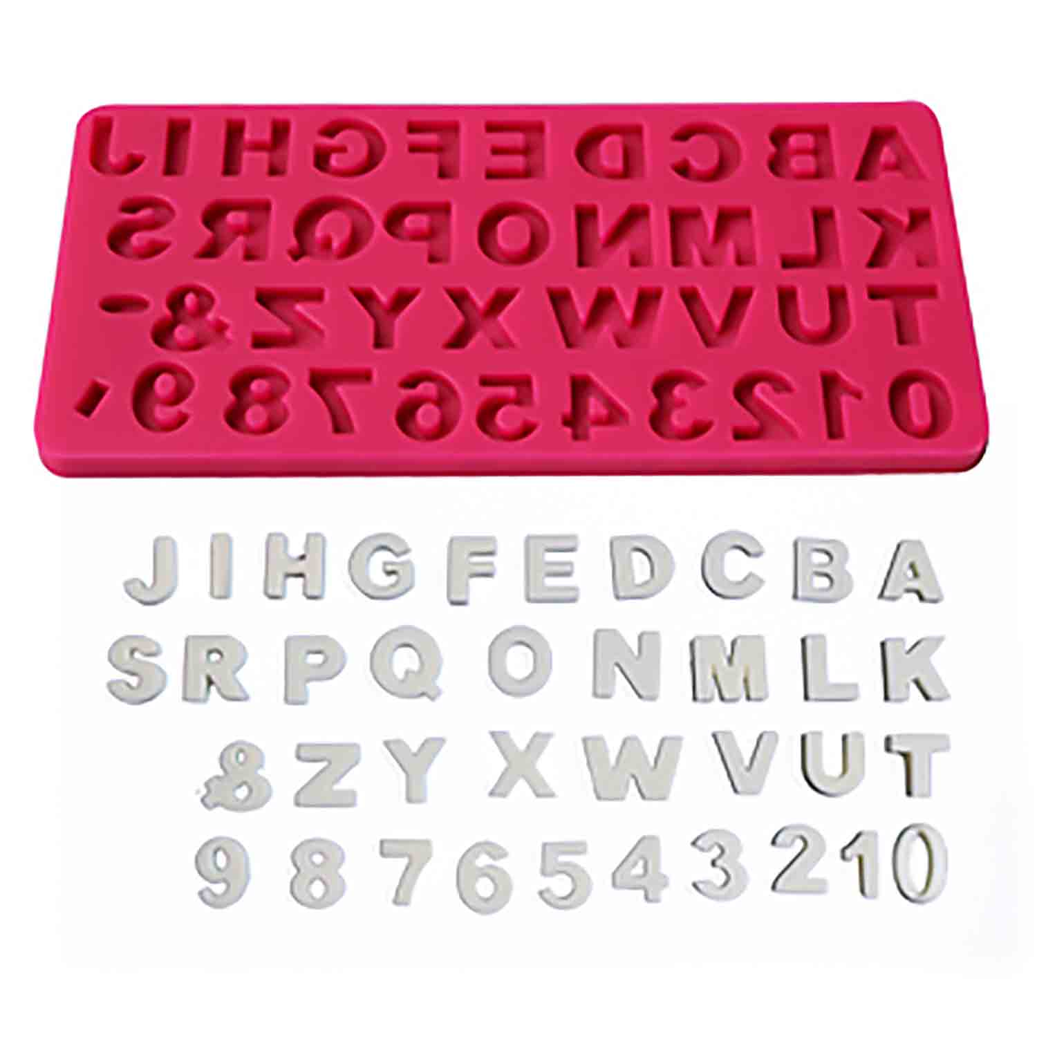 Upper Case Alphabet & Numbers Silicone Mold