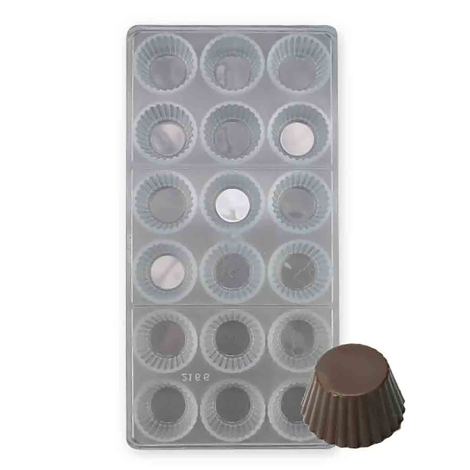 Fluted Round Polycarbonate Chocolate Candy Mold