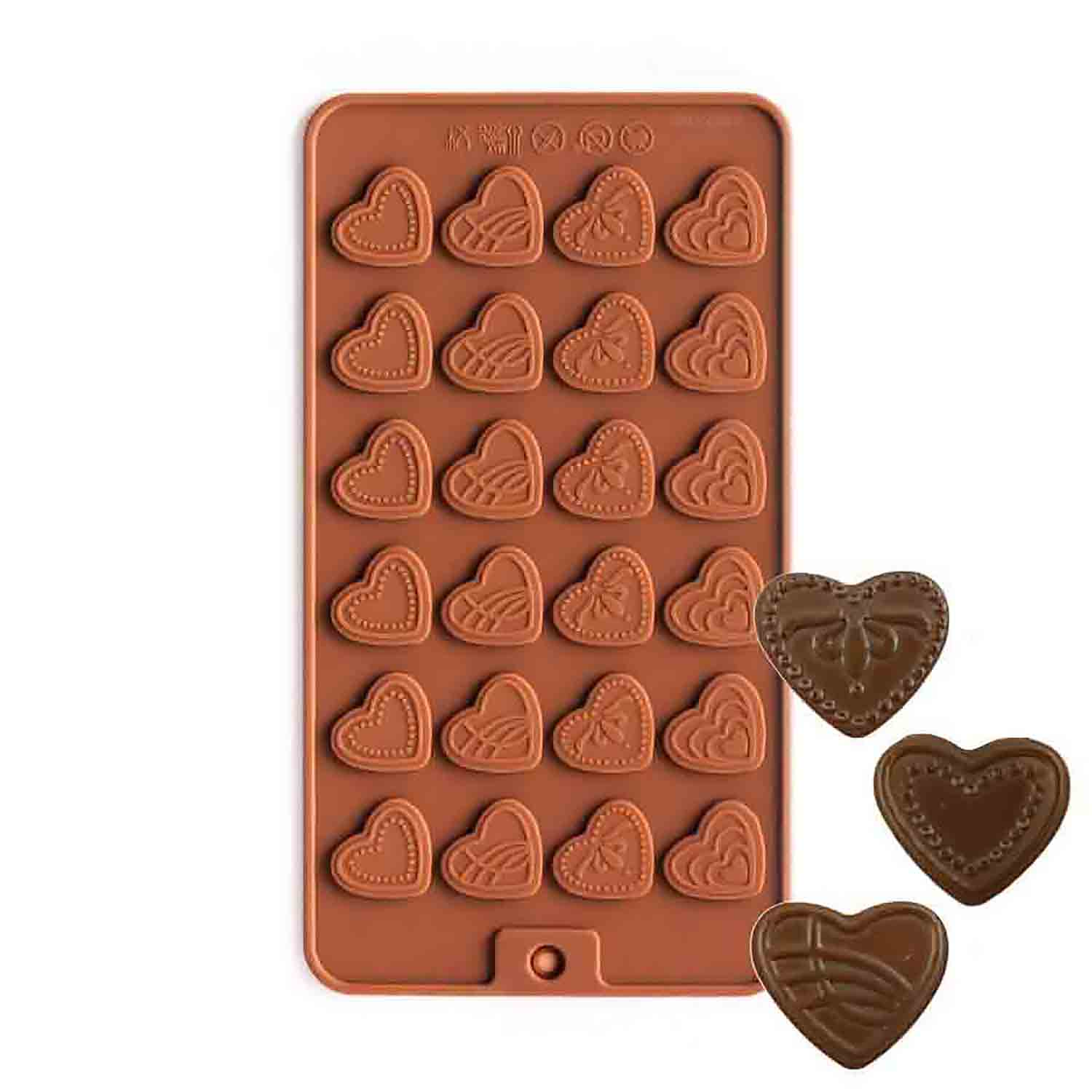 Heart Medallions Silicone Chocolate Candy Mold