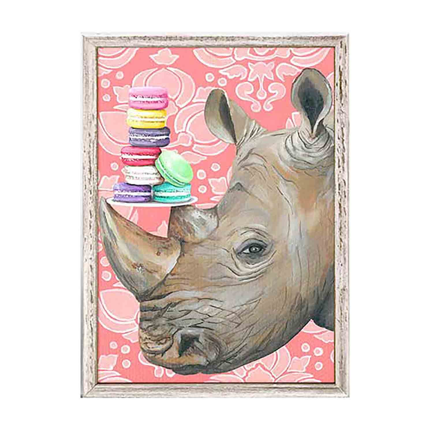 Macaroon Rhino Mini Framed Canvas