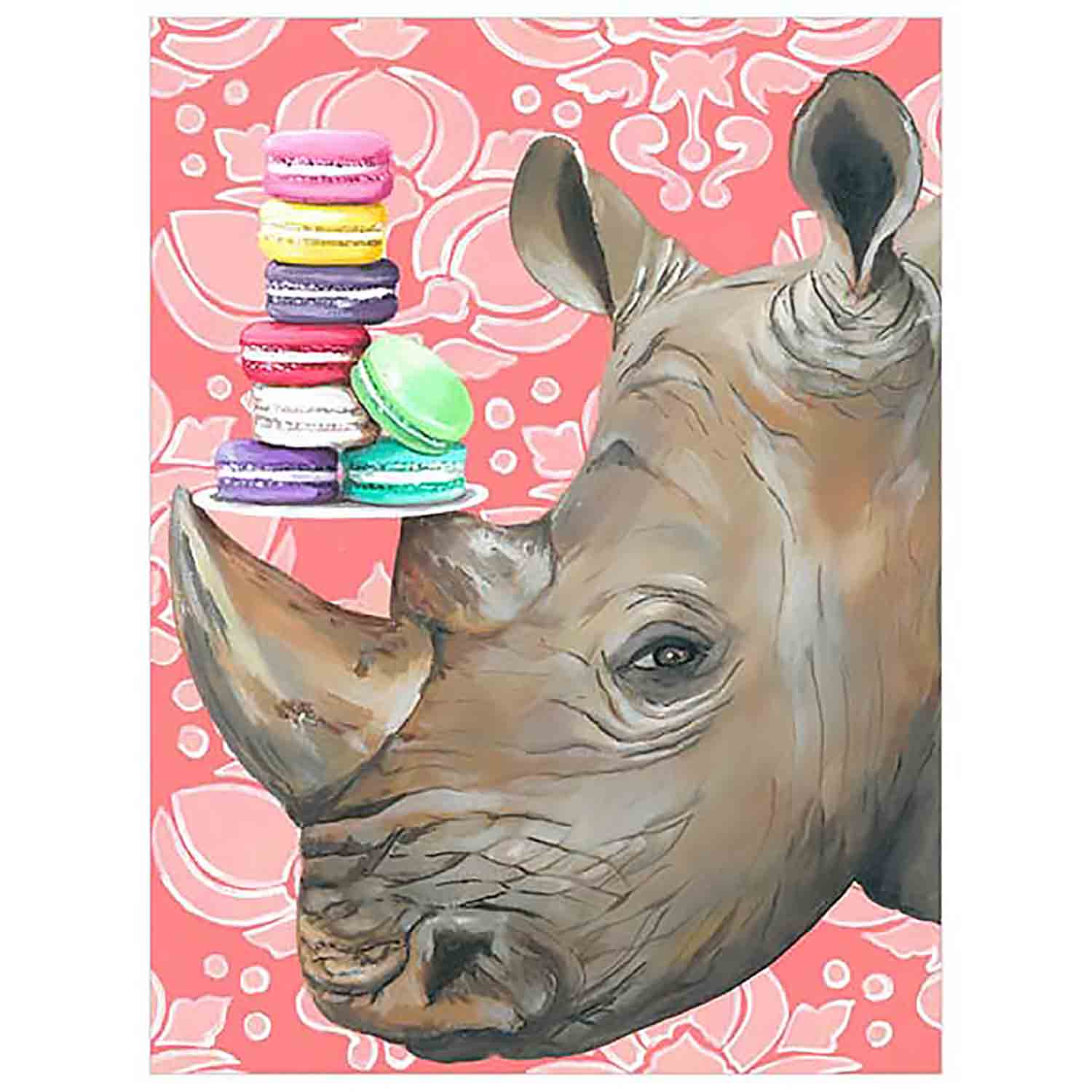 Macaroon Rhino Canvas Wall Art