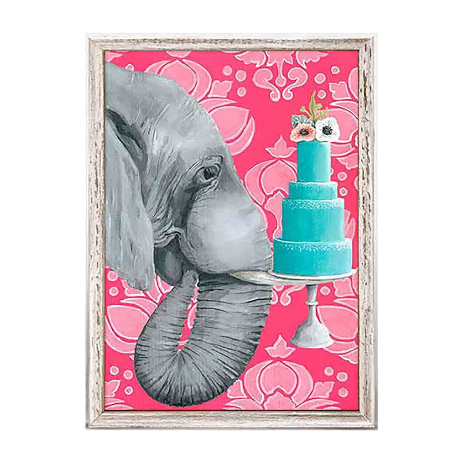 Ele With Cake Mini Framed Canvas