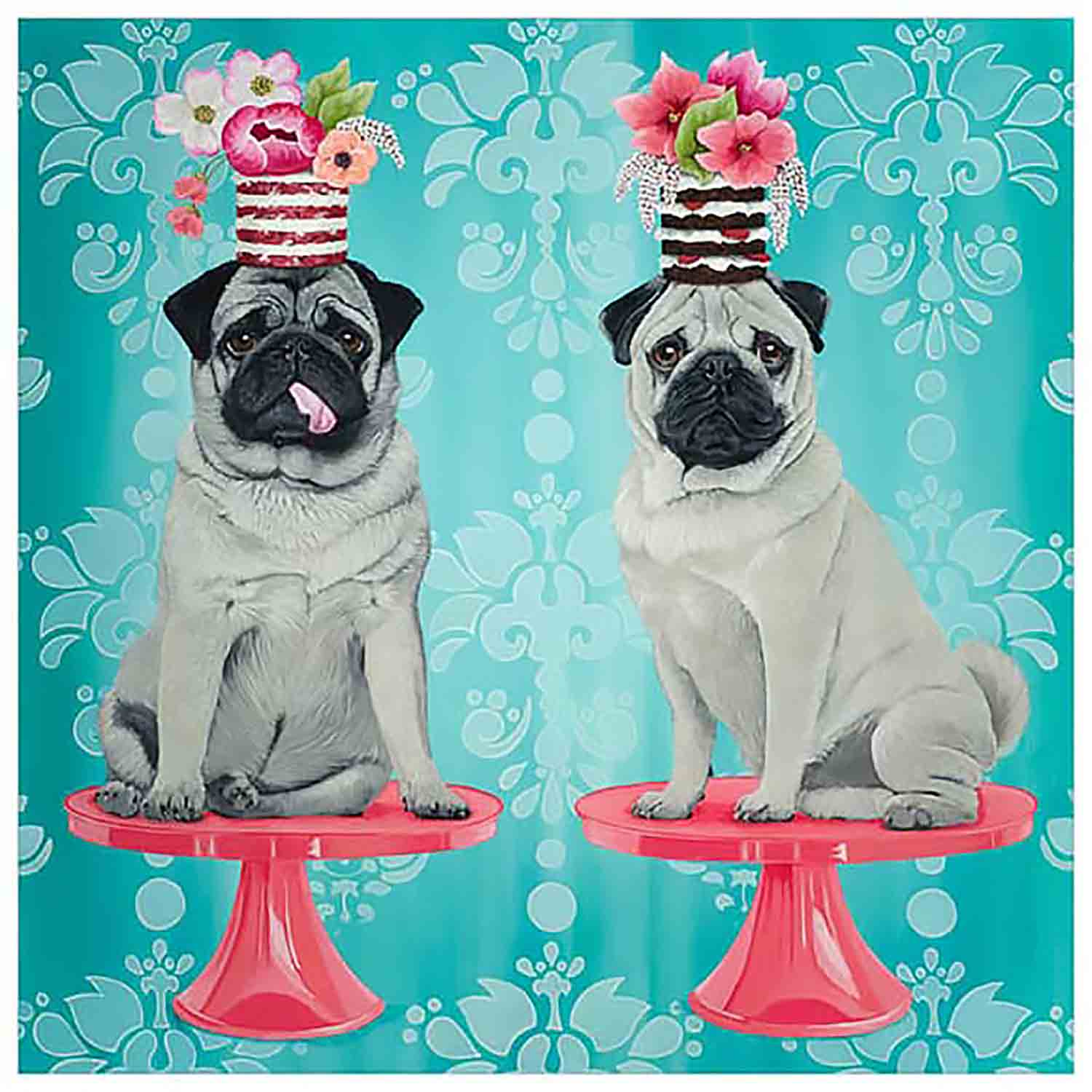 Double Pugs Canvas Wall Art