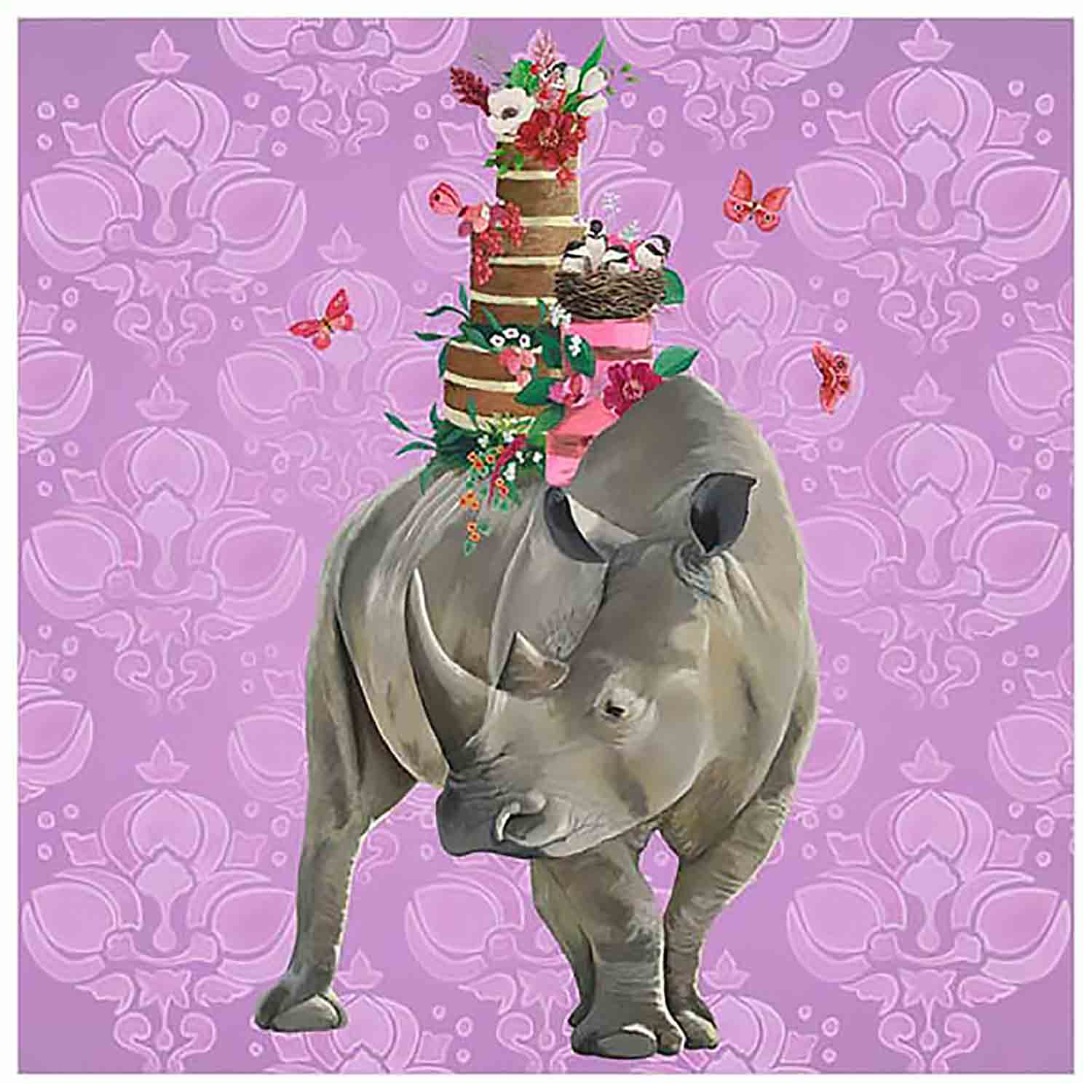 Rhino Cake Canvas Wall Art
