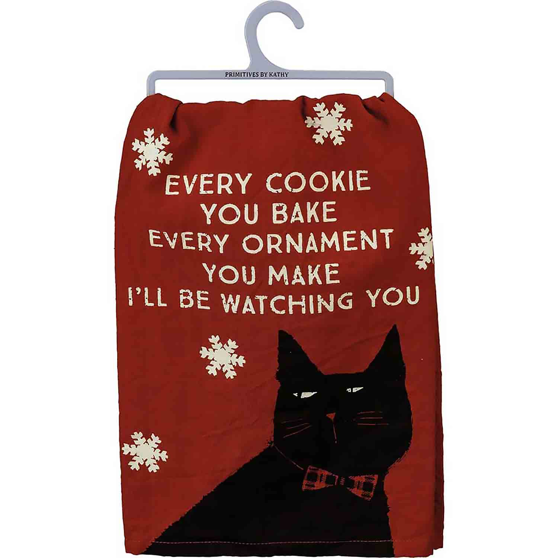 Watching You Cat Dish Towel