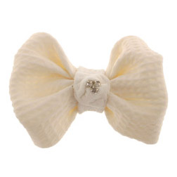 #7 White Fondant Bow With Jewels