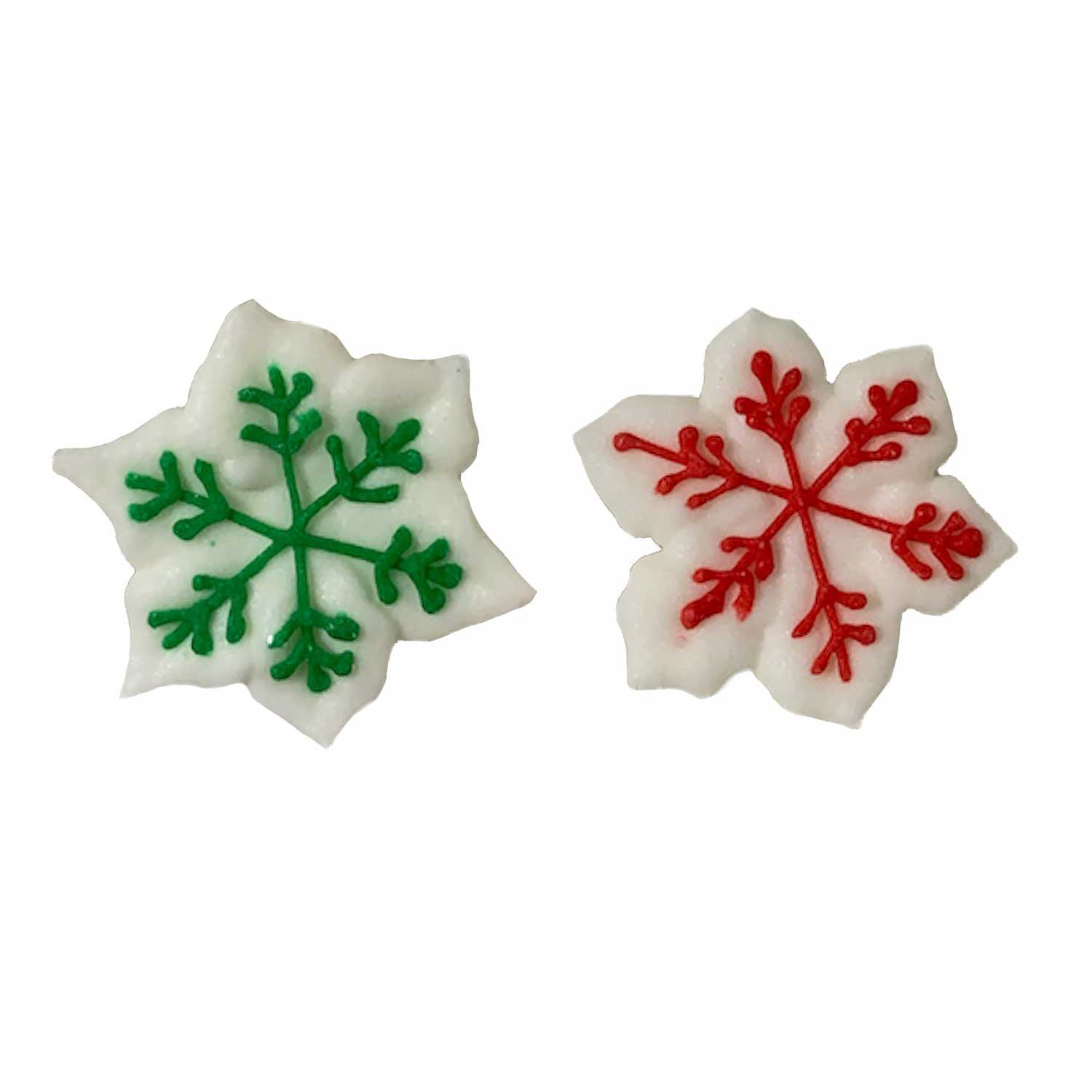 Icing Layons - Snowflakes with Red and Green Trim