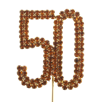 Number 50 Gold Rhinestone Cake Pick