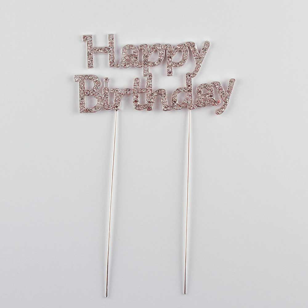 Happy Birthday Rhinestone Cake Pick