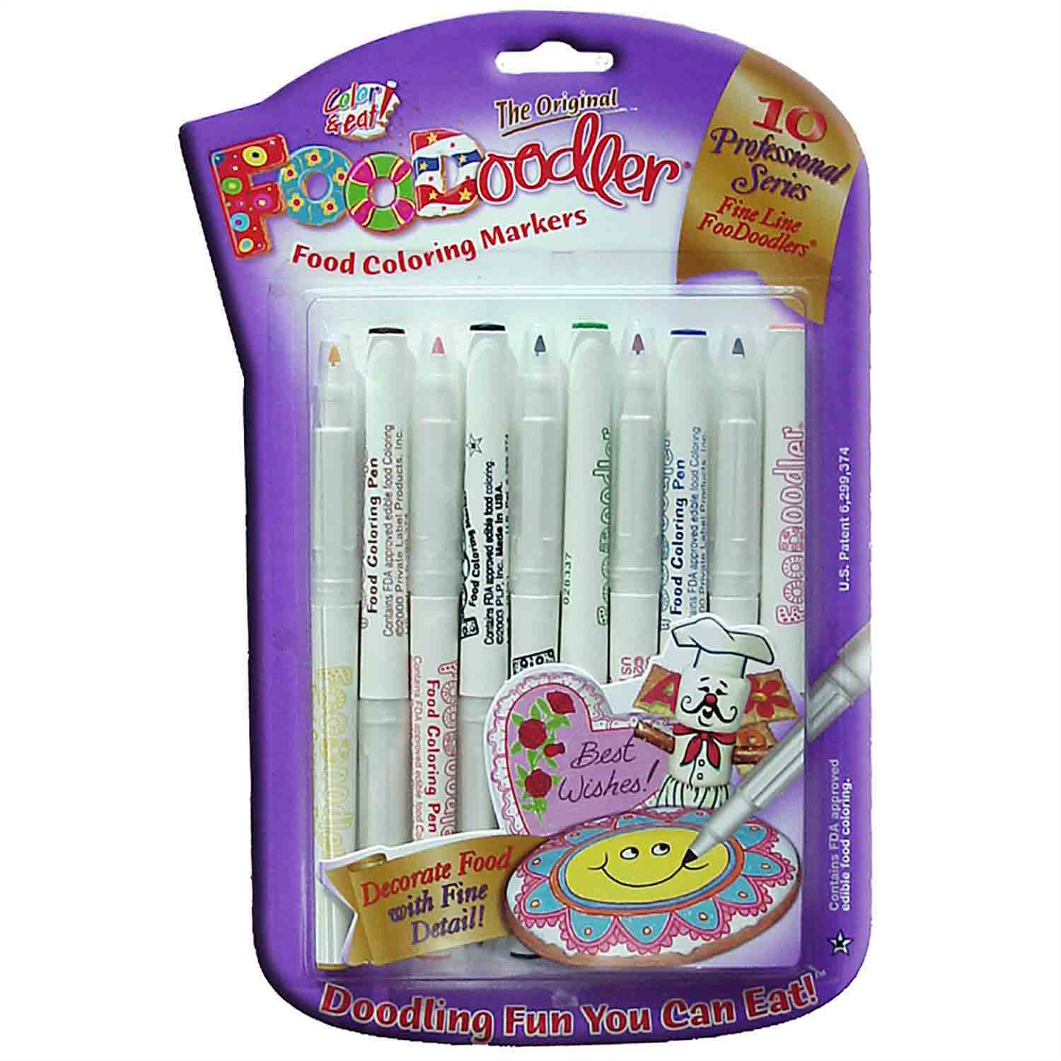 10 Assorted Fine Line FooDoodler Markers (9 colors)