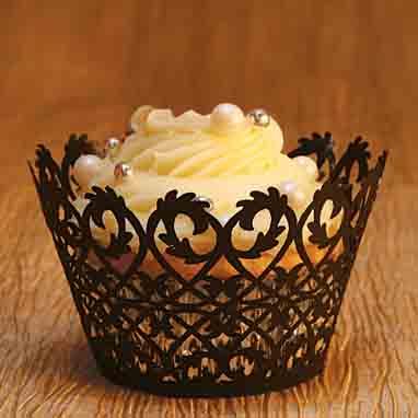Black Filigree Cupcake Wrap
