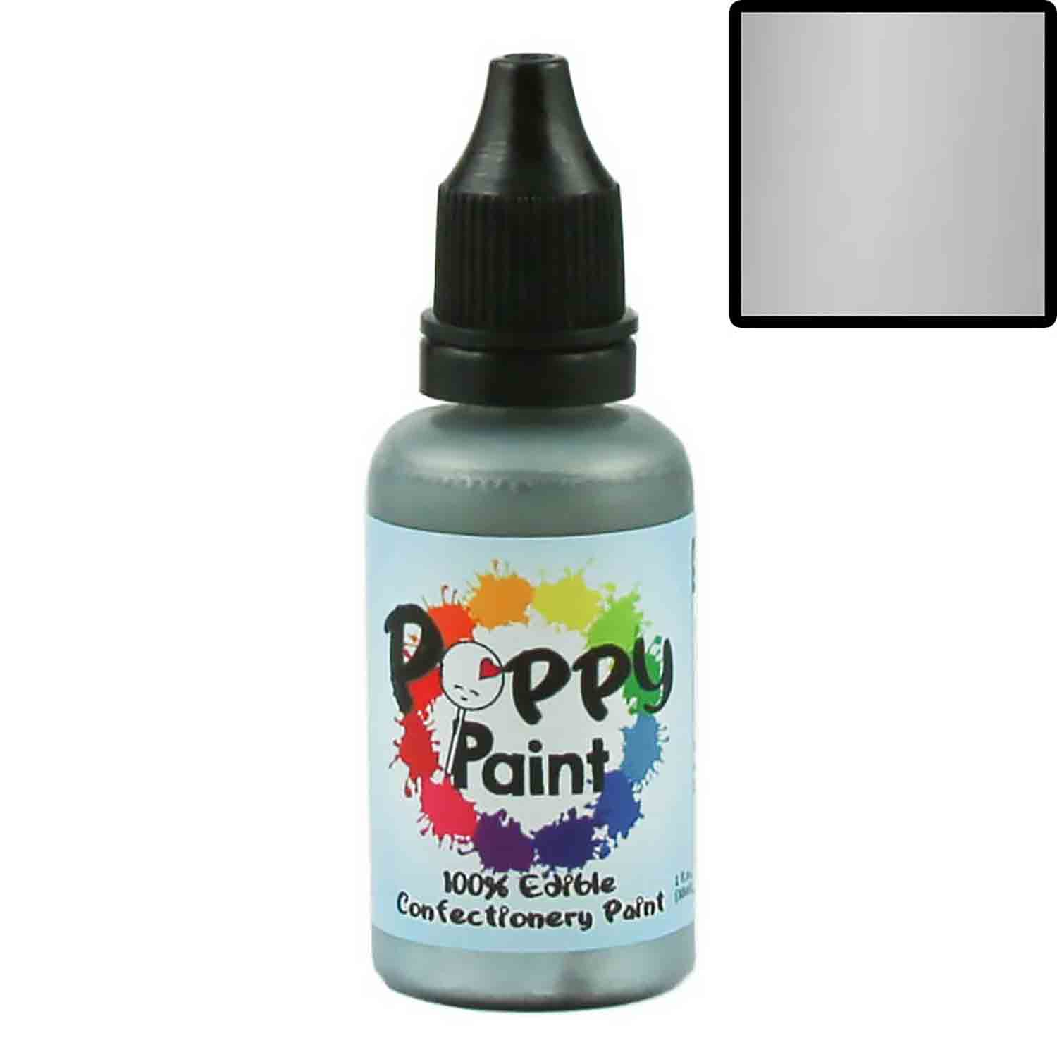 Silver Pearlescent Poppy Paint 100% Edible Confectionery Paint