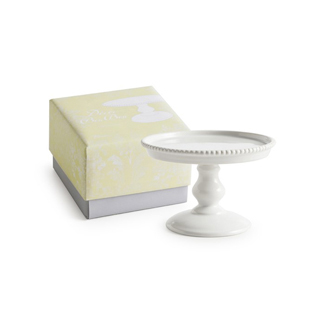 White Small Beaded Pedestal Cake Stand